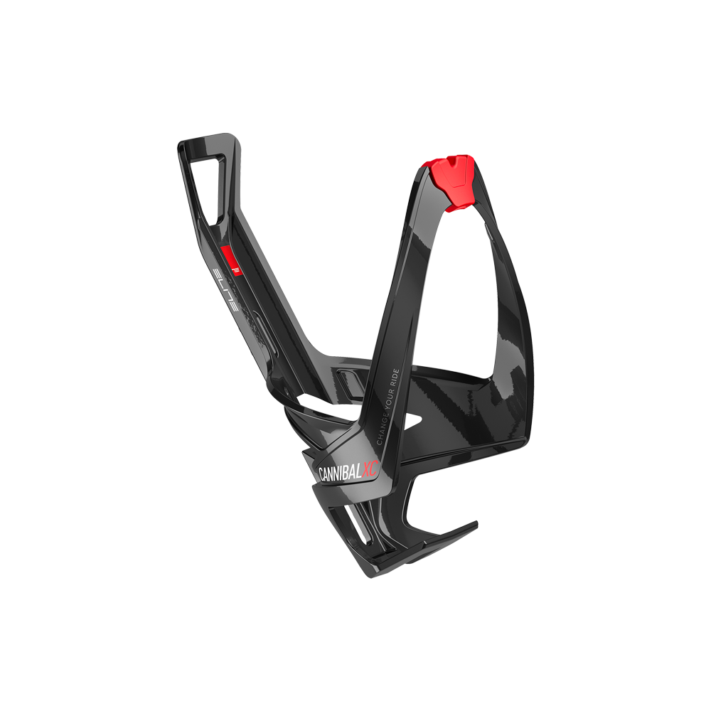 Elite Cannibal XC Water Bottle Cage Gloss Black//Red Graphic